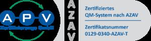 APV-Zertifikat QM 0129-0340 nach AZAV-T