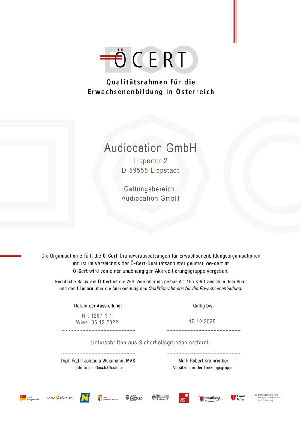 Ö-Cert Zertifikat Audiocation GmbH