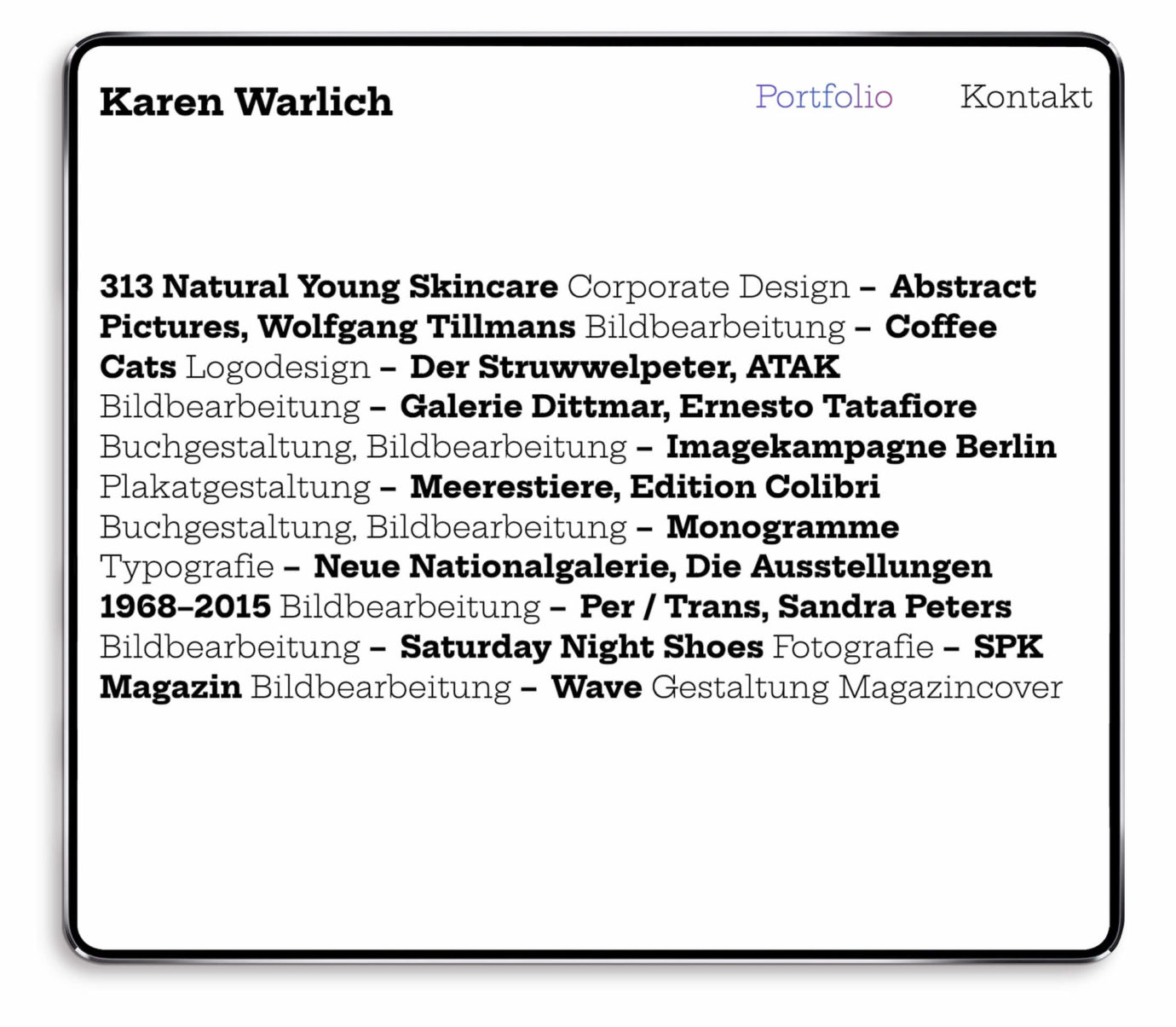 Webdesign / Screendesign von Karen Warlich